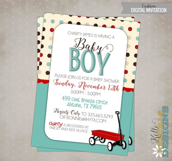 Little Red Wagon Baby Boy Shower Invitation with Polka Dots, Printable Radio Flyer Birthday Invite #S109