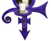 """Prince Symbol Candle Sconce - Candle holder -Wall Hanging- Wall decor -Wall Art-Purple-Mirror-Unique-Original - 16"""" x 14""""  by Zannalisa"""