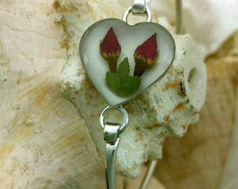 Bangle Bracelet with Real Rose Bud - red, silver, bangles, heart, love, two, ooak, gypsy soul, hippie chic, jewellery, dried flowers flower