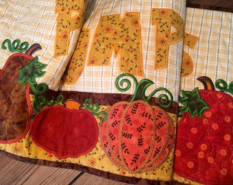 Country Quilted  PUMPKINS Wall Hanging or Table Topper . . . Appliquéd PUMPKINS letters . . . Various Size Pumpkins . . .  Great Fall Colors