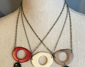 Tagua nut necklace you pick color combo black gray red white