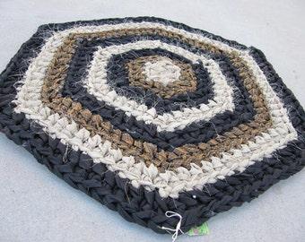 Black Brown crocheted rag rug, hexagon rug, rustic home decor, handmade rug, rustic rug, boho, vintage decor, kitchen rug, shabby chic, eco
