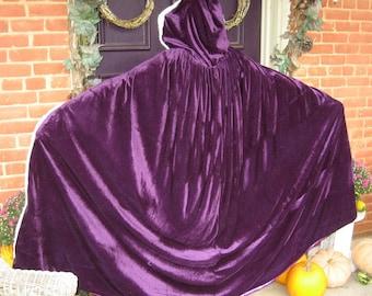 Gothic Purple Velvet Satin Cloak