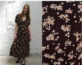 ON SALE // 90s Gap maxi dress / grunge floral neutral and brown short sleeve collared rayon dress / babydoll dress