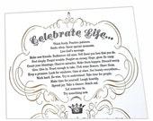 Letterpress, Inspirational, Poem Print, Affordable Wall Art, Celebrate Life