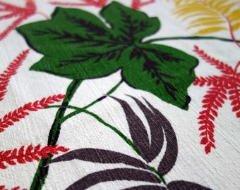 Vintage Barkcloth Fabric, 1.3 Yards of Mid Century Modern White Bark Cloth, Large Green Leaves, Yellow/Grey Palm Fronds/Ferns, Red Foliage