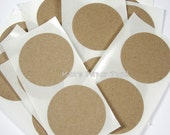 25 Round Brown Kraft Labels - 2 inch Circles - Mason Jar Labels - Craft stickers