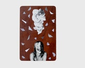 Original Paper Collage on Vinyl Flooring Sample - Blinded - Free Shipping