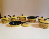 70's Toy Mushroom Pots and Pans, Childrens Dishes, Play Kitchen, 13 Piece Set