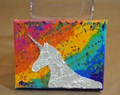 Unicorn Fantasyland - Original Artwork -Dimensional Painting, stenciled spackle and acrylic, original art, unicorn, unicorns, majestic