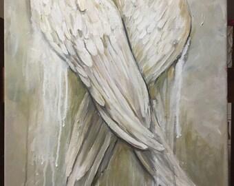 Angel Wings painting  16x20 Angel Resting