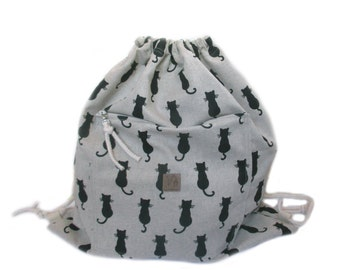 cat backpack cotton linen