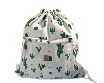 cactus backpack cotton linen