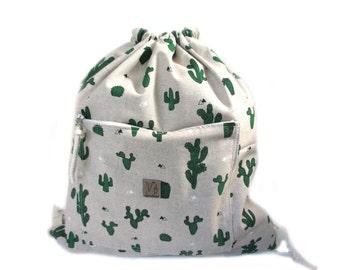 cactus backpack cotton linen