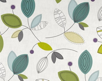 """Teal Leaf Print Curtains, Trendy Botanical Curtains, Nature Inspired Drapes, Modern Woodland Curtains, One Pair Rod-Pocket 50""""W"""
