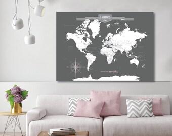 World Map Wall Art, Canvas Pushpin Map, World Travel Map, World Map Canvas, Push Pin Travel Map// H-I18-1PS AA4 04P