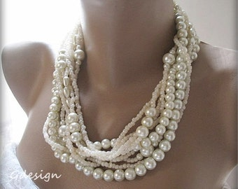 Handmade, chunky layered ivory  pearl, Bold Bridal Wedding precious  necklace.