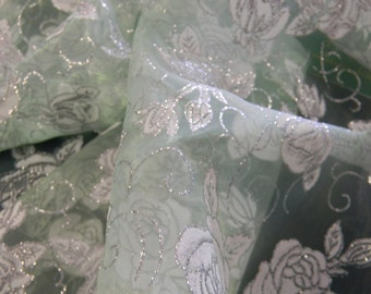 Sheer Floral Organza Special Occasion Fabric with Silver Glitter