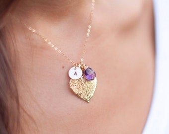 Gold leaf necklace with birthstone & initial, Personalized Mother necklace, Birthstone necklace, Fall wedding, Aspen leaf, botanical jewelry