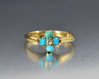 Antique Diamond Turquoise Engagement Ring, 15K Gold Diamond Ring, Victorian Turquoise Ring, Alternative Engagement Promise Stacking Ring
