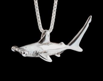 Shark Necklace Silver -  Hammerhead Shark Charm Shark Pendant Shark Jewelry - Silver Shark