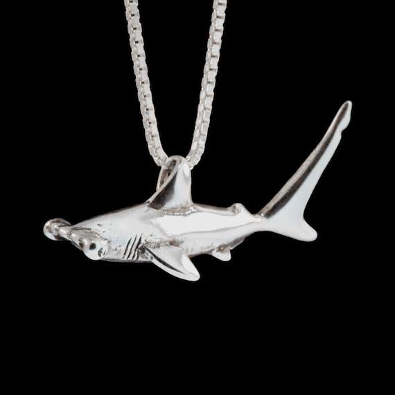 shark necklace silver hammerhead shark charm shark pendant