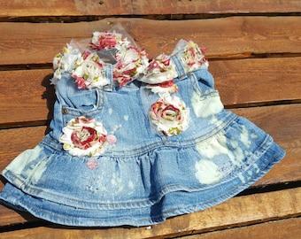 Vintage Distressed Denim Baby Skirt Vintage Pearl Rhinestone Red Pink Roses