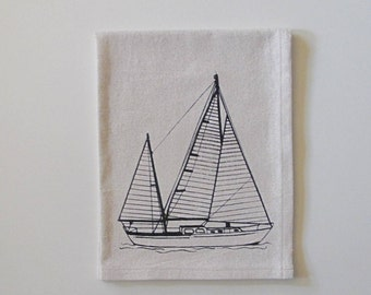 Cotton Kitchen Towel - Sailboat - Choose your ink color