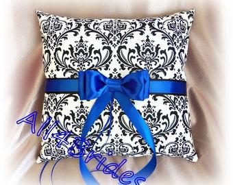 Madison damask and royal blue wedding ring bearer pillow, damask ring cushion