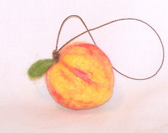 Felt Christmas Miniature Fruit Ornament Needle Felted Peach