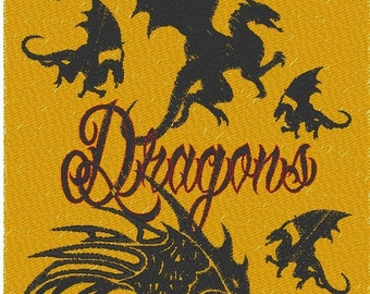 Beyond This Place There Be Dragons Scary Halloween Approximately 8x11 Inch Embroidered Pillow Stitched on Linen