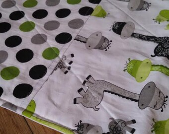 Waterproof Changing Pad - GIRAFFES Green/Grey/Black - 16 x 30 Mat - Easy Care Wash/Dry