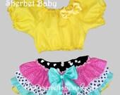 Set Peasant Midriff Crop Top & Sassy Pants 4 Ruffle Panty Diaper Cover Yellow Navy Hot Pink Green