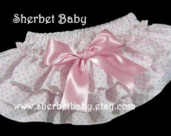 Sassy Pants Ruffled Diaper Cover Classic Style Pink Polka Dot with Bow