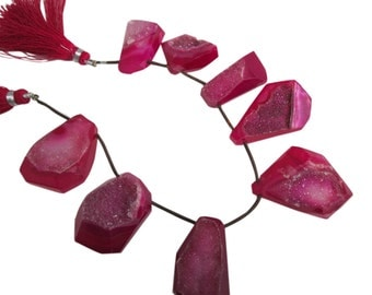 Pink Druzy Beads, Druzy Quartz Beads, Drusy Beads, Pink Drusy, Druzy Briolettes, Slab, Slices, Pink Druzy Slabs, SKU 4908