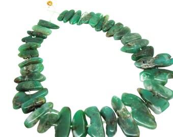 Green Chrysoprase Beads, Chrysoprase Sticks, Free form shape, Australian Chrysoprase, SKU 4690