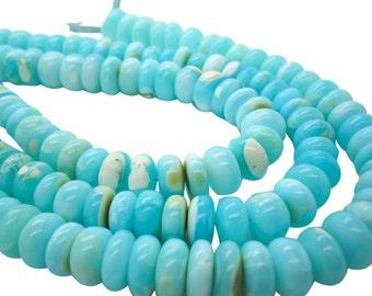 Blue Peruvian Opal Beads, Peruvian Opal Beads, Blue Opal Beads, Rondelles, 10-13, SKU 4926