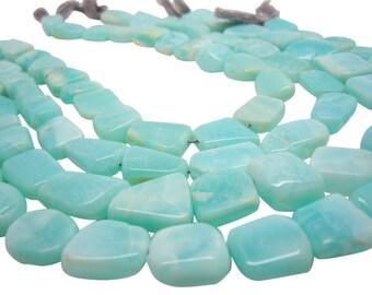 Blue Peruvian Opal Beads Oval, Luxe AAA, Smooth Nuggets, Peruvian Opal Beads, SKU 4425A