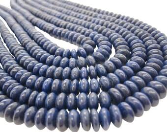 Natural Lapis Lazuli Beads, Lapis Lazuli Rondelles, 8mm, Natural Lapis Beads, Smooth Rondelles, SKU 5095A