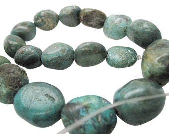 Turquoise Nugget, Turquoise Beads, Green Blue Turquoise, Pebbles, December Birthstone, SKU 5159A
