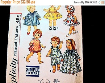 Sewing Pattern SALE 1960s Doll Clothes Pattern for 18 inch Dolls such as Suzie Sunshine Chatty Cathy Vintage Sewing Pattern Simple to Sew