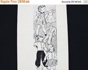 Sewing Pattern SALE 1940s Doll Clothes Patterns Original 22 inch Doll Clothes Pattern Mail Order Pattern Doll Wardrobe Pattern Vintage Sewin