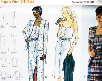 SALE 25% Off 1980s Womens Sundress Pattern Vogue Dress and Jacket Misses size 6 UNCUT Short or Long Sundress Spaghetti Straps, Jacket Patter