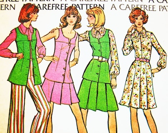 Vintage Sewing Pattern 1970s Womens Long Tunic Vest, Pants, Pleated Skirt, Shirt Misses size 16 Bust 38 UNCUT Factory Folded