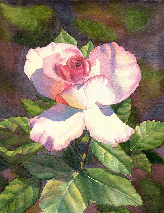 Pink Rose Art Watercolor Painting Print by Cathy Hillegas, 8x10, watercolor rose, watercolor print, pink, white, red, green, purple, floral