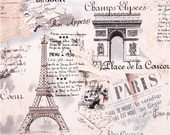 186630 cream retro Paris Eiffel Tower fabric by Timeless Treasures