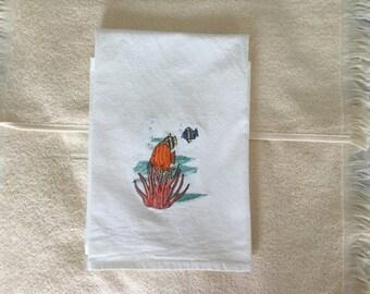 TROPICAL FISH  Machine embroidered Flour Sack/Tea Towel
