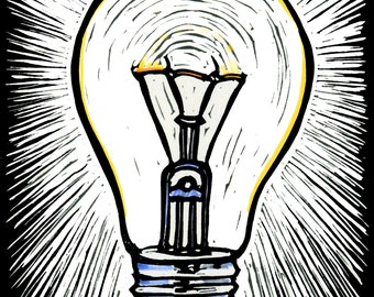 Bright Idea, Original Block Print