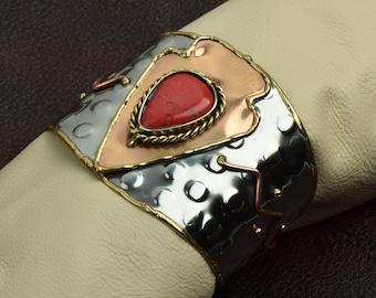 Southwestern Style Cuff arrowhead 2 tone  Bracelet , J856 Red