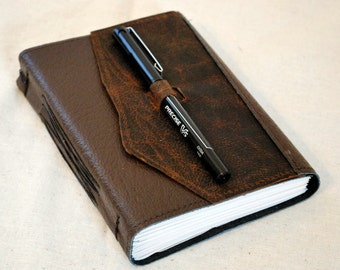 Medium Earthy Leather Travel Journal with Recycled Paper
